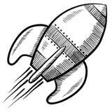 Retro rocket illustration. Doodle style retro rocket or spaceship vector illustration Royalty Free Stock Photo