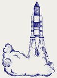 Retro rocket. Illustration retro rocket. Doodle style Stock Images