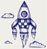 Retro rocket. Illustration retro rocket. Doodle style Stock Photography