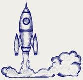 Retro rocket. Illustration retro rocket. Doodle style Stock Image