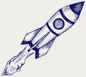Retro rocket. Illustration retro rocket. Doodle style Royalty Free Stock Images