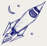 Retro rocket. Illustration retro rocket. Doodle style Royalty Free Stock Photography