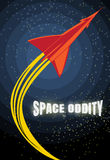 Retro rocket launch. Vintage poster about space travel. Stars and galaxy backdrop. Retro vector design template. Stock Photography