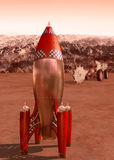 Retro rocket on Mars Royalty Free Stock Photos