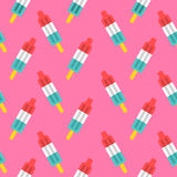 Retro rocket popsicle seamless pattern Stock Images