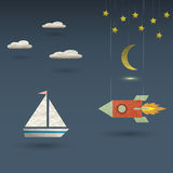 Retro rocket and sailboat Royalty Free Stock Images