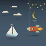Retro rocket and sailboat. Vector paper-art Royalty Free Stock Images