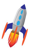 Retro rocket ship. Retro styled rocket ship with oval windows and fiery propulsion Stock Images