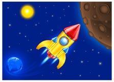 Retro rocket in sky. Retro rocket ship space vehicle blasting off into sky, vector illustration Stock Images