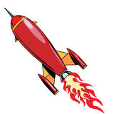 Retro rocket soars up. Pop art retro vector illustration. Spaceship, science fiction Stock Images