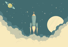 Retro Rocket Spaceship Royalty Free Stock Photo