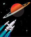 Retro Rocketship. 1950's style rocketship traveling through space as it nears Saturn like planet Stock Image