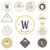 Retro roczników logotypy ustawiający Wektorowi projektów elementy, biznes podpisują, logowie, tożsamość, etykietki, odznaki royalty ilustracja