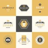 Retro roczników logotypy ustawiający Wektorowi projektów elementy, biznes si ilustracji
