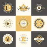 Retro roczników logotypy ustawiający Wektorowi projektów elementy, biznes si royalty ilustracja