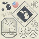 Retro roczników znaczki pocztowi ustawiają Michigan, Stany Zjednoczone Zdjęcie Royalty Free