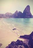 Retro rocznik filtrował pionowo obrazek plaża obrazy stock