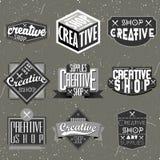 Retro rocznik insygnie, logotypy ustawiający lub royalty ilustracja