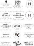 Retro rocznik insygnie, logotypy ustawiający lub Wektorowi projektów elementy, biznesów znaki, logowie, tożsamość, etykietki, odz ilustracji
