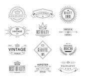 Retro rocznik insygnie, logotypy ustawiający lub Wektorowi projektów elementy, biznes podpisują, logowie, tożsamość, etykietki, o ilustracji