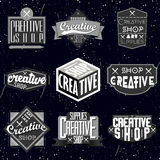 Retro rocznik insygnie, logotypy ustawiający lub Obrazy Royalty Free