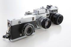 Retro rocznik kamery boczny widok na białym tle Obraz Stock
