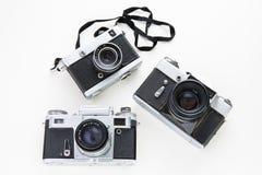 Retro rocznik kamery odgórny widok na białym tle Zdjęcie Stock