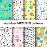Retro rocznik 80s lub 90s mody styl Memphis bezszwowi wzory ustawiający Obrazy Stock