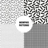 Retro rocznik 80s lub 90s mody styl Memphis bezszwowy wzór Modni geometryczni elementy nowoczesne abstrakcyjne projektu Fotografia Royalty Free