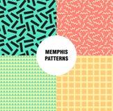 Retro rocznik 80s lub 90s mody styl Memphis bezszwowy wzór Modni geometryczni elementy nowoczesne abstrakcyjne projektu Obraz Royalty Free