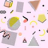 Retro rocznik 80s lub 90s mody styl Memphis bezszwowy wzór Modni geometryczni elementy nowoczesne abstrakcyjne projektu Obrazy Royalty Free