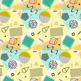 Retro rocznik 80s lub 90s mody styl Memphis bezszwowy wzór Modni geometryczni elementy nowoczesne abstrakcyjne projektu Zdjęcia Royalty Free