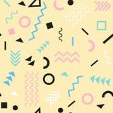 Retro rocznik 80s lub 90s mody styl Memphis bezszwowy wzór Modni geometryczni elementy nowoczesne abstrakcyjne projektu Zdjęcia Stock