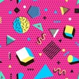 Retro rocznik 80s lub 90s mody styl Memphis bezszwowy wzór Modni geometryczni elementy nowoczesne abstrakcyjne projektu Fotografia Stock
