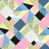 Retro rocznik 80s lub 90s mody styl Memphis bezszwowy wzór Modni geometryczni elementy nowoczesne abstrakcyjne projektu Obrazy Stock