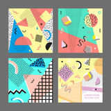Retro rocznik 80s lub 90s mody styl Memphis karty Duży set Modni geometryczni elementy Nowożytny abstrakcjonistyczny projekta pla Obraz Royalty Free