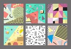 Retro rocznik 80s lub 90s mody styl Memphis karty Duży set Modni geometryczni elementy Nowożytny abstrakcjonistyczny projekta pla Zdjęcie Stock
