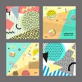 Retro rocznik 80s lub 90s mody styl Memphis karty Duży set Modni geometryczni elementy Nowożytny abstrakcjonistyczny projekta pla Fotografia Stock