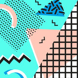Retro rocznik 80s lub 90s mody styl Memphis karty Modni geometryczni elementy Nowożytny abstrakcjonistyczny projekta plakat, pokr Obraz Royalty Free