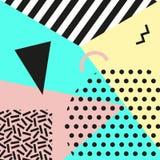 Retro rocznik 80s lub 90s mody styl Memphis karty Modni geometryczni elementy Nowożytny abstrakcjonistyczny projekta plakat, pokr Fotografia Stock