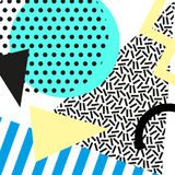 Retro rocznik 80s lub 90s mody styl Memphis karty Modni geometryczni elementy Nowożytny abstrakcjonistyczny projekta plakat, pokr Obraz Stock