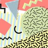 Retro rocznik 80s lub 90s mody styl Memphis karty Modni geometryczni elementy Nowożytny abstrakcjonistyczny projekta plakat, pokr Fotografia Royalty Free
