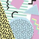 Retro rocznik 80s lub 90s mody styl Memphis karty Modni geometryczni elementy Nowożytny abstrakcjonistyczny projekta plakat, pokr Obrazy Royalty Free