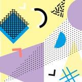 Retro rocznik 80s lub 90s mody styl Memphis karty Modni geometryczni elementy Nowożytny abstrakcjonistyczny projekta plakat, pokr Obrazy Stock