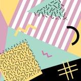 Retro rocznik 80s lub 90s mody styl Memphis karty Modni geometryczni elementy Nowożytny abstrakcjonistyczny projekta plakat, pokr Zdjęcia Royalty Free