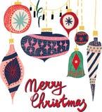 Retro rocznik sztuki nowego roku kolażu wzoru piękna artystyczna Skandynawska graficzna urocza wakacyjna choinka bawi się wektor royalty ilustracja