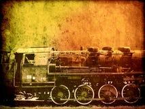 Retro rocznik technologia, starzy parowi pociągi, tło Obraz Royalty Free