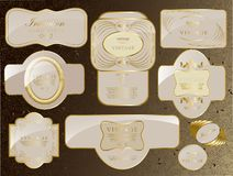 Retro rocznik ustawiający białego złota etykietka ilustracji