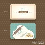 Retro rocznik wizytówka dla piekarnia domu Fotografia Stock