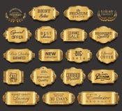 Retro rocznik złotych odznak inkasowa wektorowa ilustracja Obraz Royalty Free